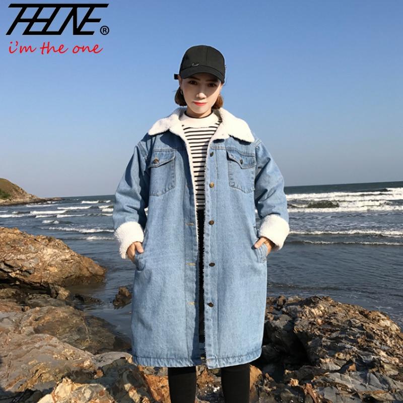 THHONE-معطف نسائي من صوف الضأن ، سترة دنيم مبطنة ، طية صدر السترة ، معطف سميك ودافئ غير رسمي ، ملابس نسائية ، خريف وشتاء