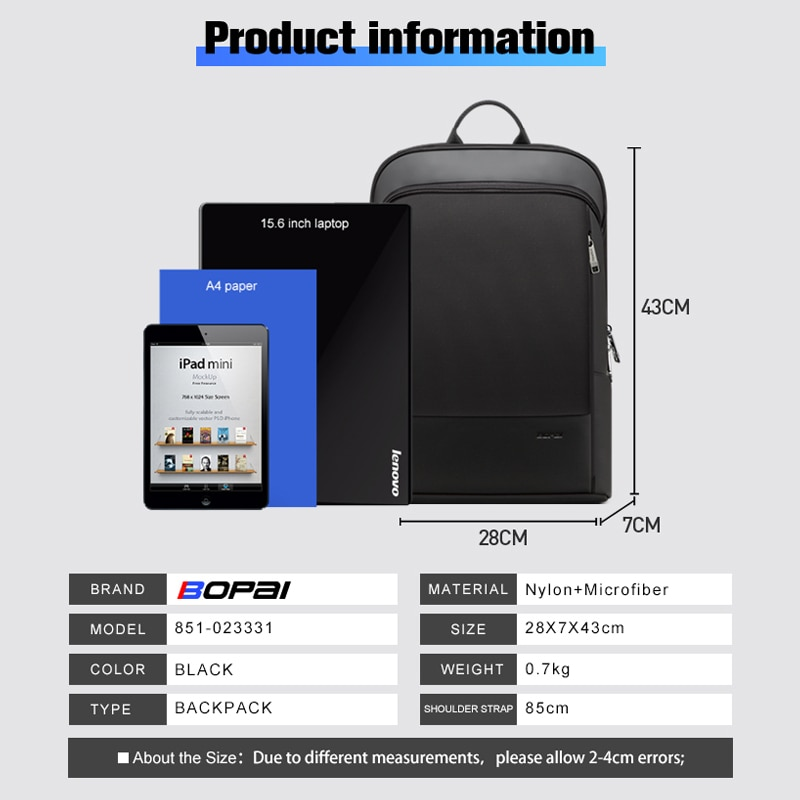 Ransel komputer riba ramping 15.6 inci pejabat kerja beg perniagaan - Beg galas - Foto 6