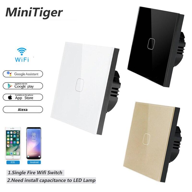 Minitiger-interrupteur tactile mural   Maison intelligente 1/2/3/4 Gang 1 voie sans fil, WiFi Standard ue, commande App ewelink