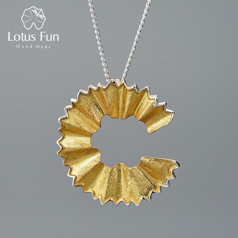 Lotus fun real 925 prata esterlina artesanal jóias finas criativo lápis aparas design pingente sem colar para presente feminino