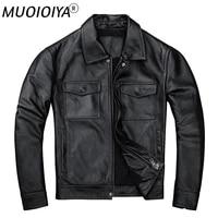 motorcycle leather jacket top layer cowhide mens genuine leather coat slim spring autumn jacket