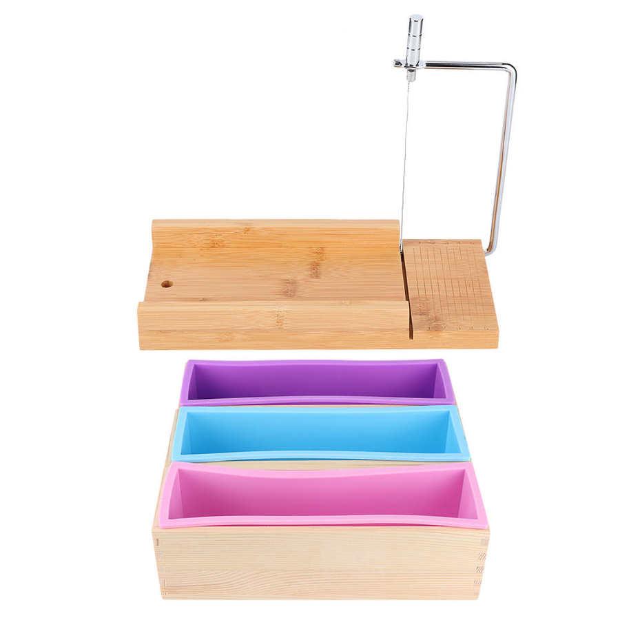 1200 مللي DIY سيليكون الصابون صنع قالب صندوق خشبي مجموعة دليل الصابون القاطع مع مقياس المطبخ أداة مرنة العفن DIY اليدوية أداة