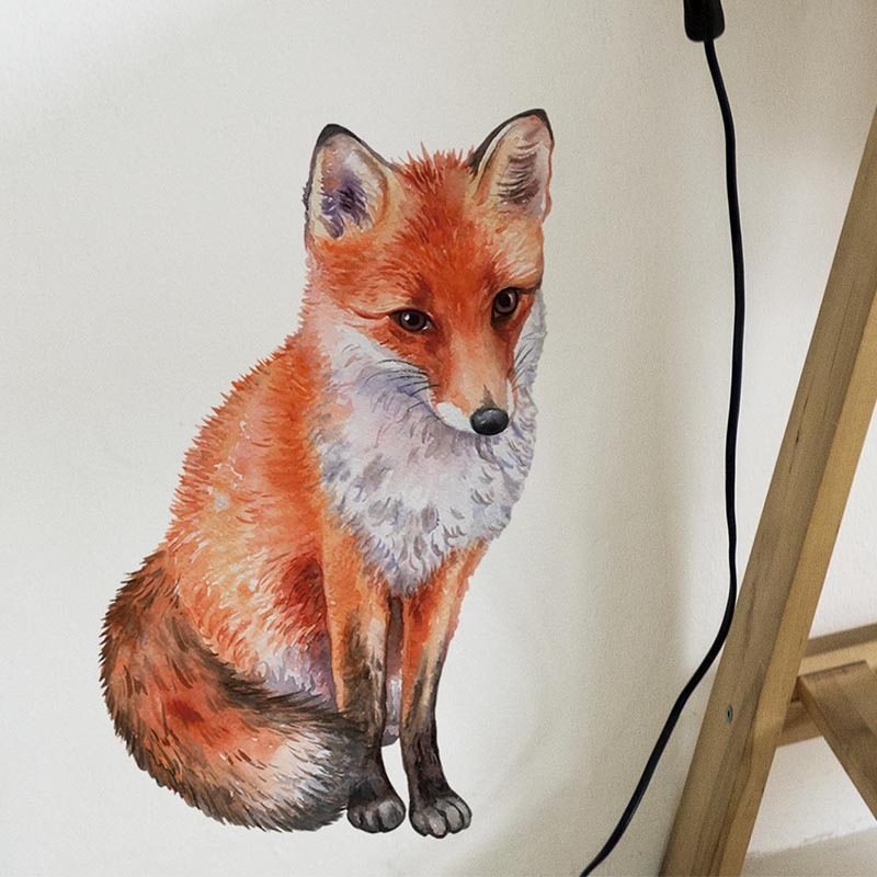 Hand Drawn Fox Wall Sticker Home Wall Decoration Living Room Decor Creative Animals Wallpaper Art Decals Self-adhesive Stickers