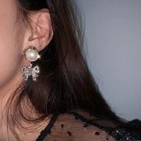 new charms women earring crystal bowknot earrings for women pearl earring brincos brand wedding earring femme bijoux bridal
