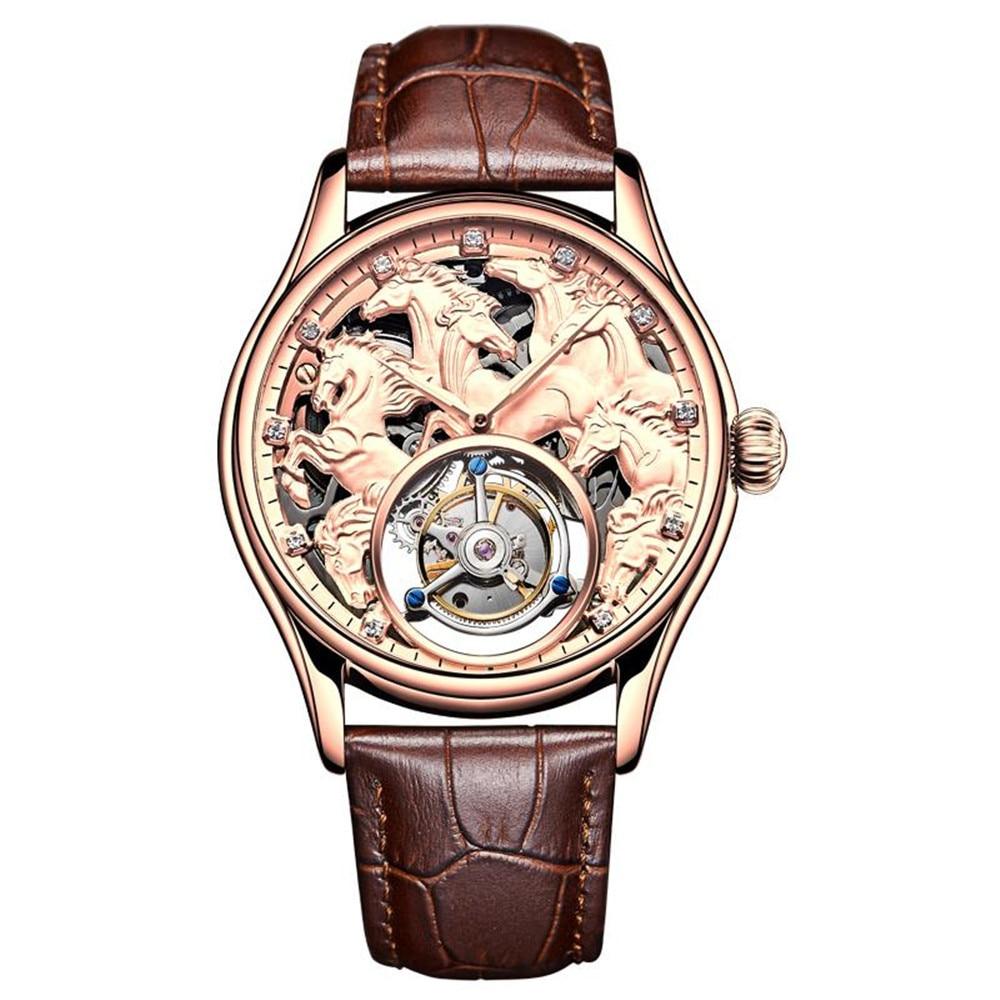 Guanqin-ساعة ميكانيكية توربيون أصلية للرجال ، هيكل عظمي 100% ، ماركة أصلية 2020 ، فاخرة ، مقاومة للماء ، جلد