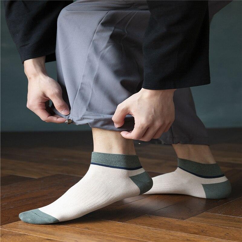 Носки мужские носки-башмачки Носки японский в стиле ретро Носки сочетающихся цветов простые мужские хлопчатобумажные носки Носки удобные ...