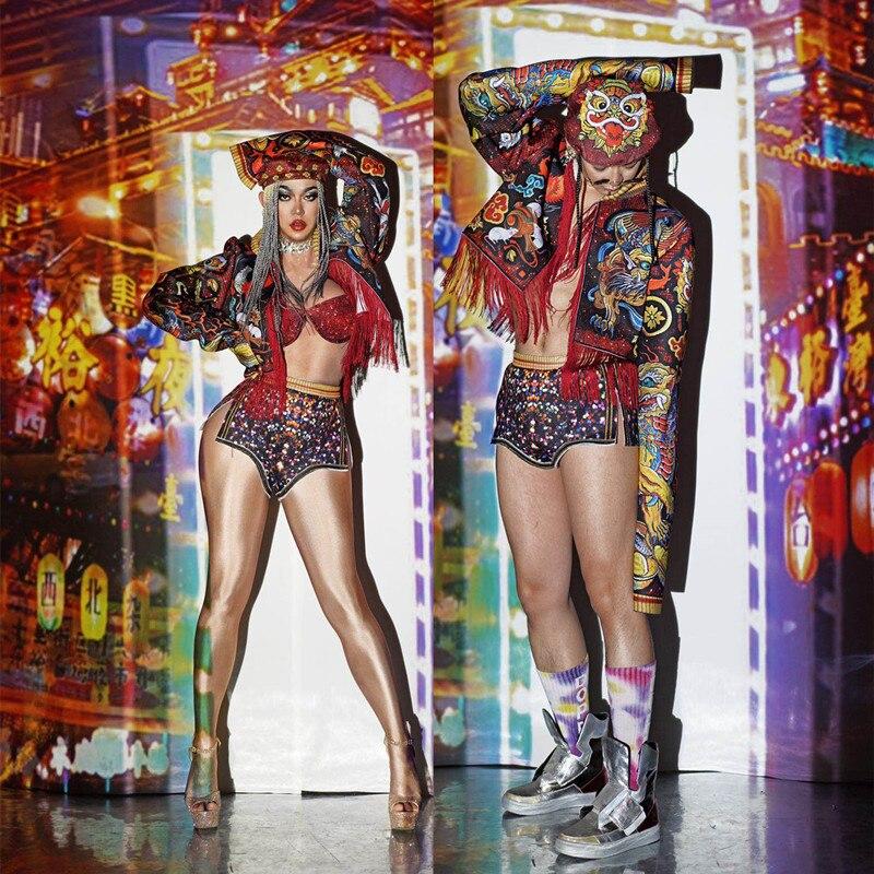 Halloween bar clube festa masculino feminino traje de dança padrão dragão do vintage 3d impresso jaqueta shorts chapéu conjunto equipe dj mostrar traje