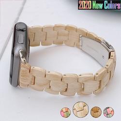 Laço de madeira para apple assistir banda série 6 se 5 4 3 38mm 40mm 42mm 44mm pulseira pulseira de madeira para iwatch pulseiras correa