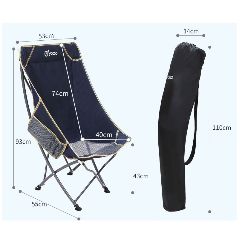 MENFLY Camping Fishing Chairs Portable Folding Picnic Stools Collapsible Backrest Moon Chair Leisure Beach Recliner Oxford Cloth enlarge