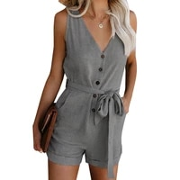 women playsuit v neck sleeveless button belt bow casual jumpsuit 2021 summer solid plus size romper elegant tunic short overalls