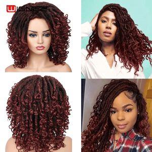 Wignee Short Burgundy Synthetic Wigs Braiding Crochet Twist For Black Women Faux locs Dreadlock Dreads Fiber American Hair Wig
