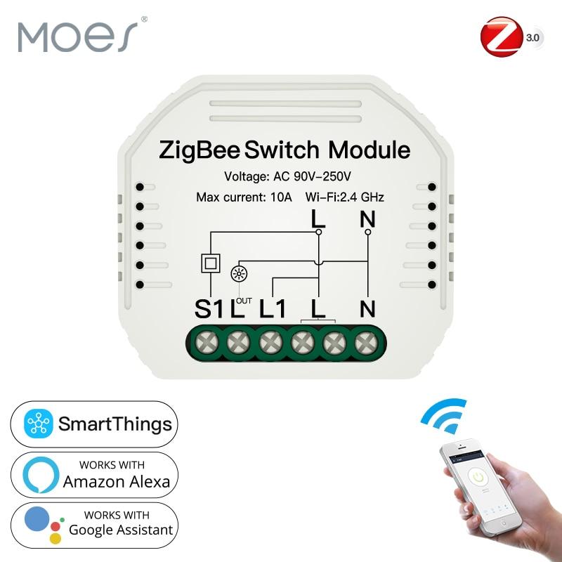 Interruptor de Luz Remoto sem Fio Trabalhar com Alexa Casa do Google para Controle de Voz Tuya Zigbee Vida Inteligente Módulo – Controle 3.0