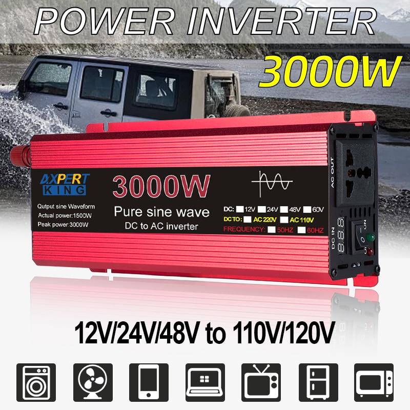 Inversor de onda senoidal pura 12v/24v para ac 110v 220v 1600w/2200w/3000w tensão transformador conversor de energia solar inversor display led