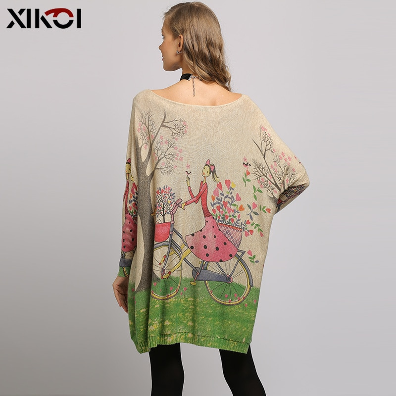 XIKOI Winter Oversized Sweater For Women Knitted Pullover Dress Smile Lucky Girl Print Pull Femme Beautiful Casual Loose Clothes enlarge