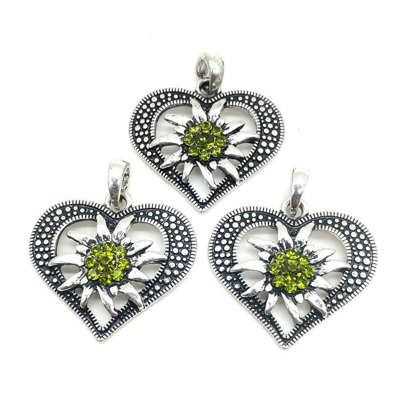 3 uds antiguo Chapado en plata de amor en forma de corazón se conecta para hacer colgantes collar de moda de cristal Edelweiss joyería