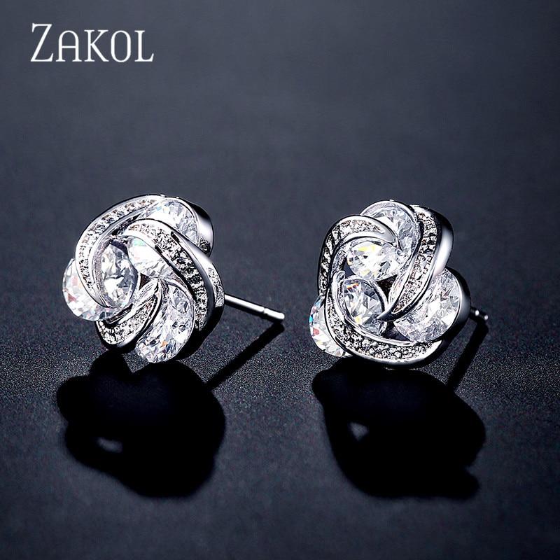 Pendientes de circonita cúbica transparentes geométricos bonitos de ZAKOL para mujer, pendientes redondos de circonita cúbica a la moda, joyería de circonita cúbica, regalo de Navidad, FSEP2310