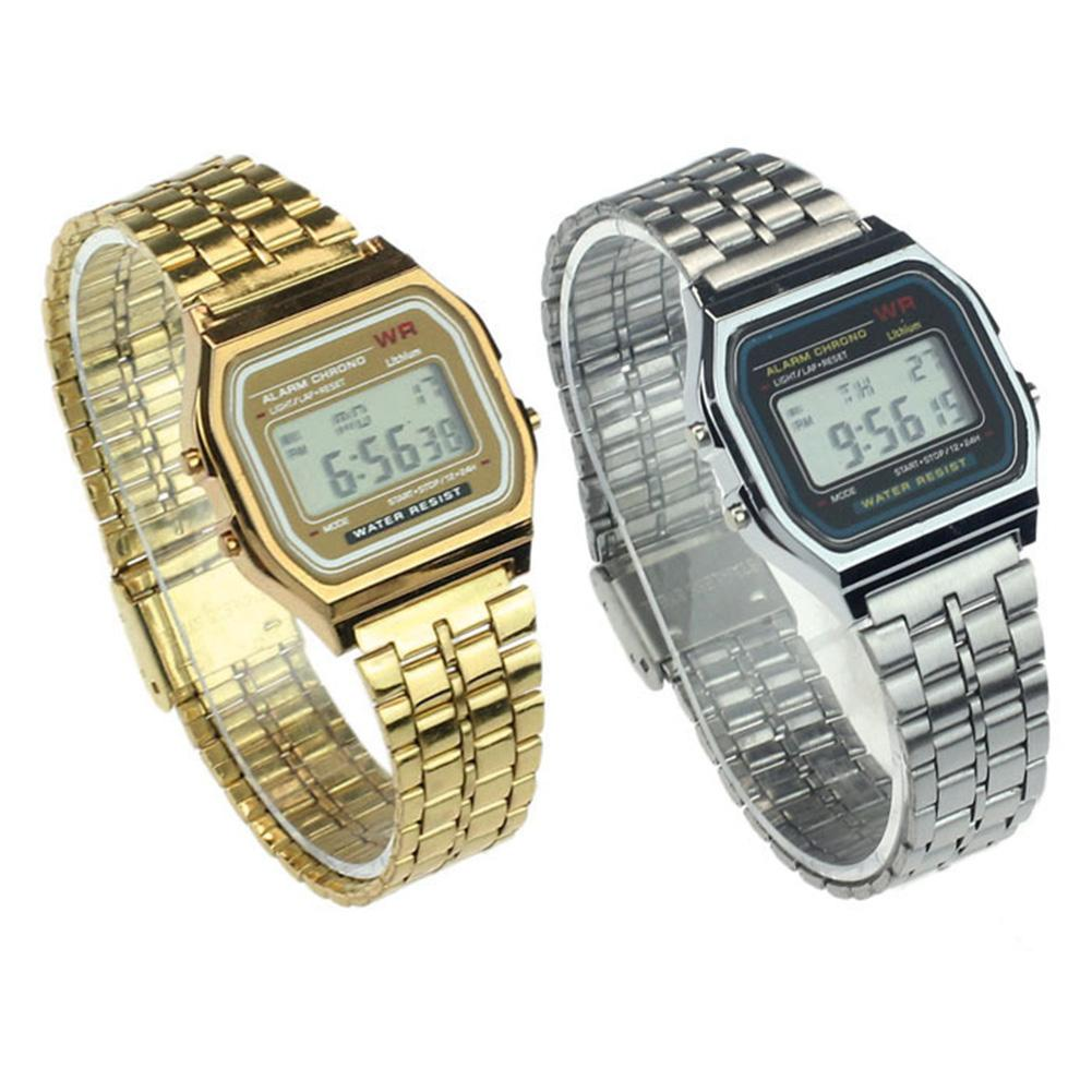 Stainless Steel Digital Display Alarm Stop Watch Wrist Watch Electronic Watch With A Square LED Digi