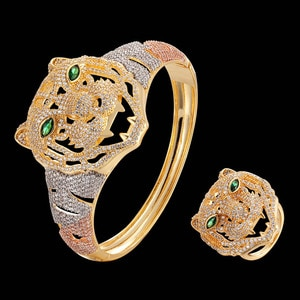 Zlxgirl jewelry classic women and men tiger shape animal copper bangle with ring jewelry sets mirco paved zircon bracelet bangle
