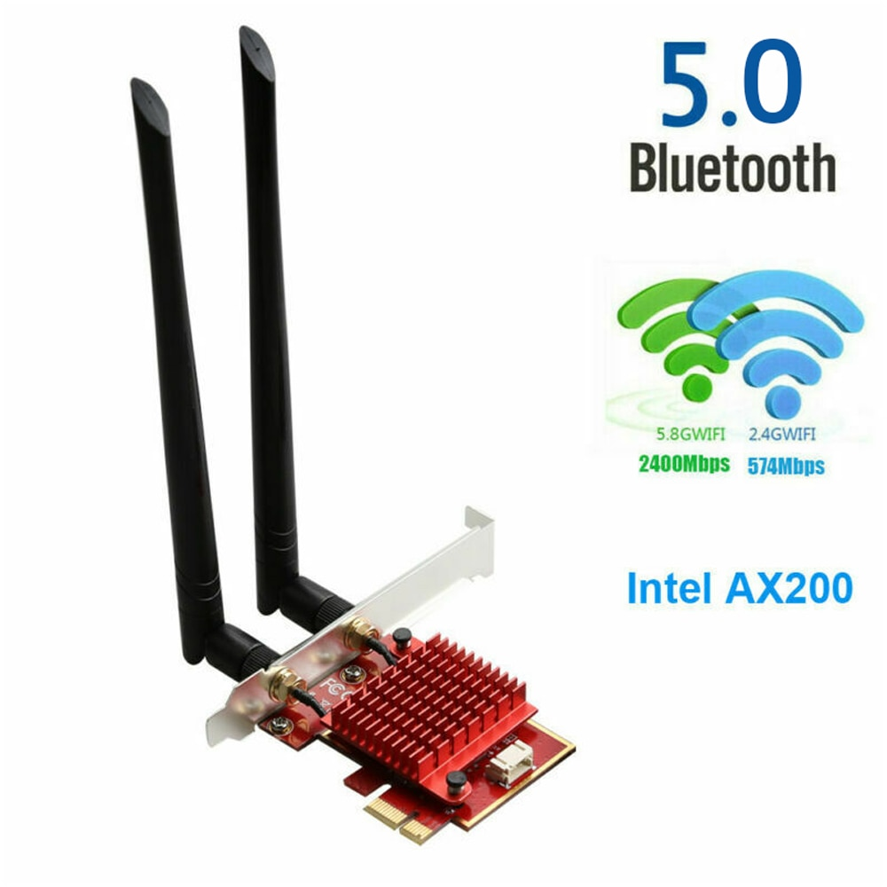 3000Mbps واي فاي 6 محول ثنائي العلامة التجارية 2.4G/5.8G 802.11 Ax PCI-E بطاقة محول لاسلكي بلوتوث 5.0 إنتل AX200 لأجهزة الكمبيوتر الألعاب