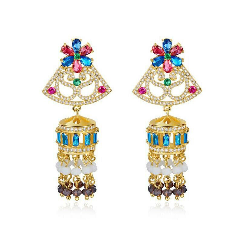 Jhumka-أقراط هندية عتيقة من الزركونيا AAA للنساء ، مجوهرات على الطراز القبلي ، غجري ريترو ، عرقي ، Jhumki