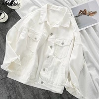 solid jackets coats fashion daily new casual style outwear basic korean all match autumn korean loose denim womens style ulzzang