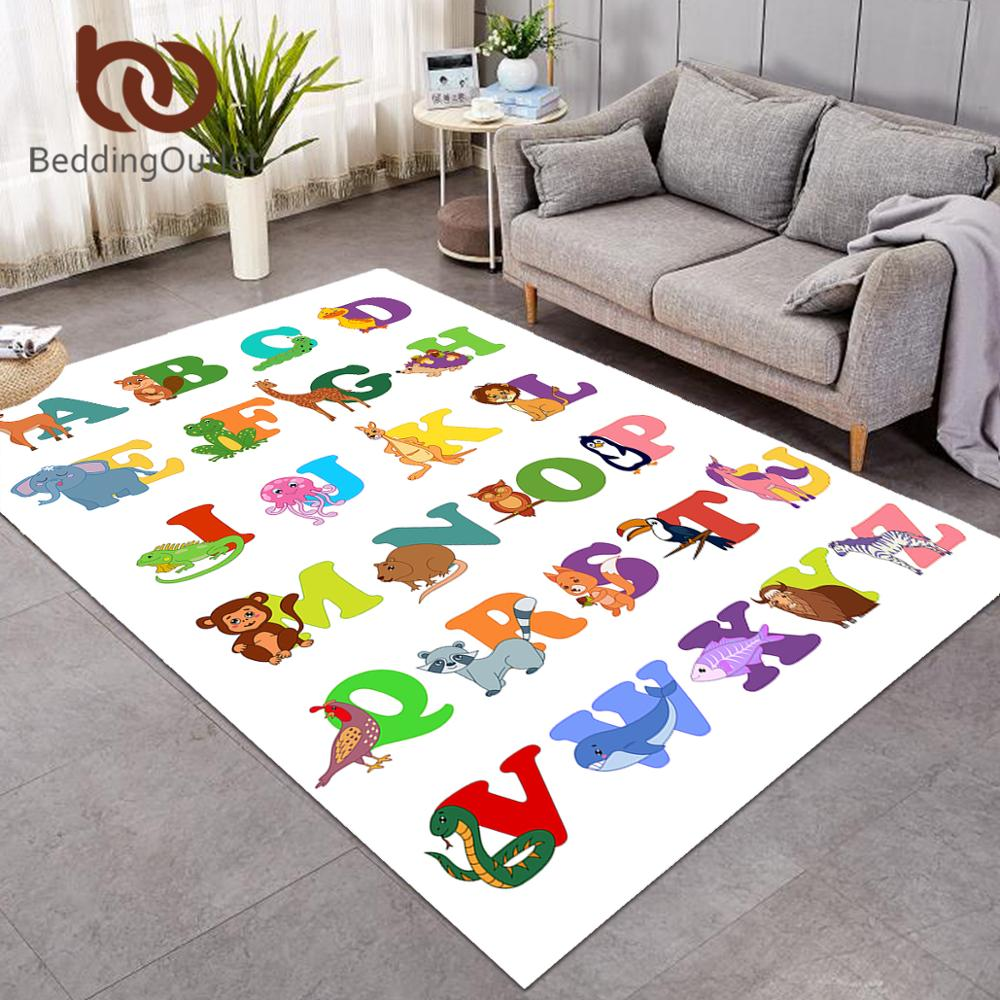BeddingOutlet-سجادة حروف أبجدية ABC لغرفة المعيشة ، سجادة تعليمية للأطفال ، سجادة أرضية بتصميم حيوانات كرتونية مضحكة لغرفة النوم