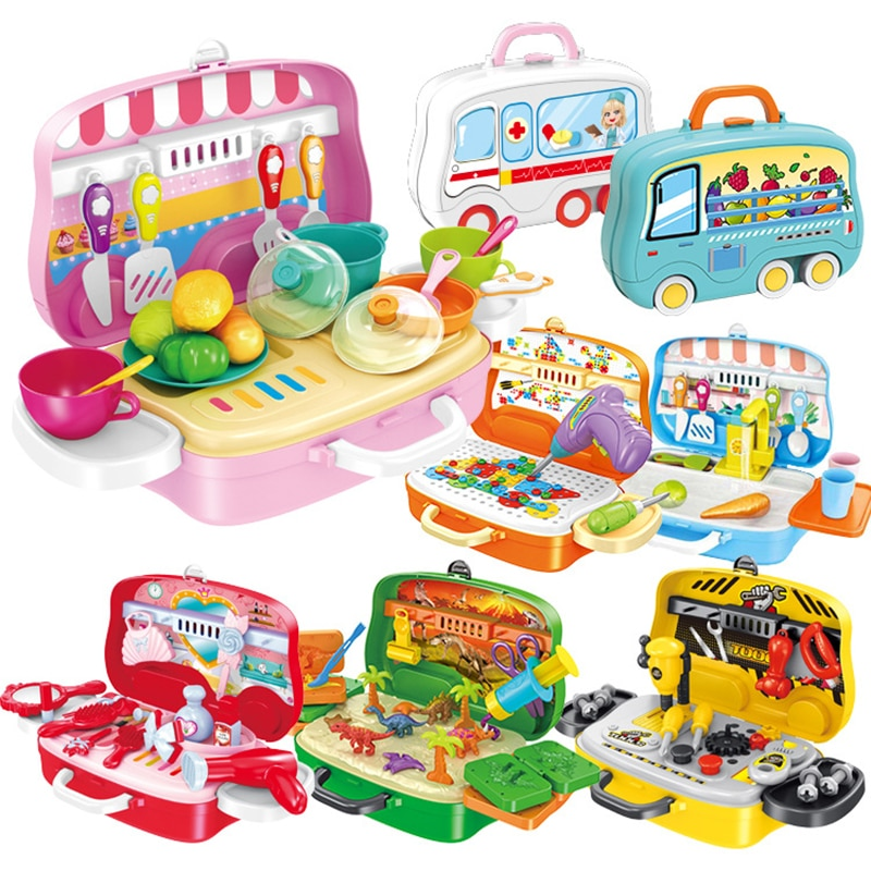 Children Kitchen Suitcase Toy, Kids Kitchen Tools Set Suitcase Play House Toy Parent-Child Interactive Toys недорого