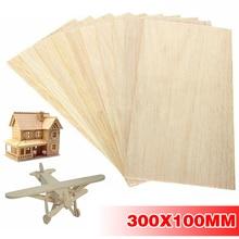 10 pièces/ensemble Balsa feuilles de bois 300*100*1.5mm plaque de bois avion léger planche de bois pour bricolage avion bateau modèle jouets artisanat