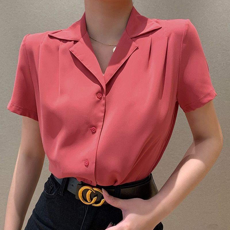Breasted Cardigan Women's Clothing Solid Color Single-breasted Retro Regular Short Sleeve Stand Collar Suit Short Sleeve Shirt