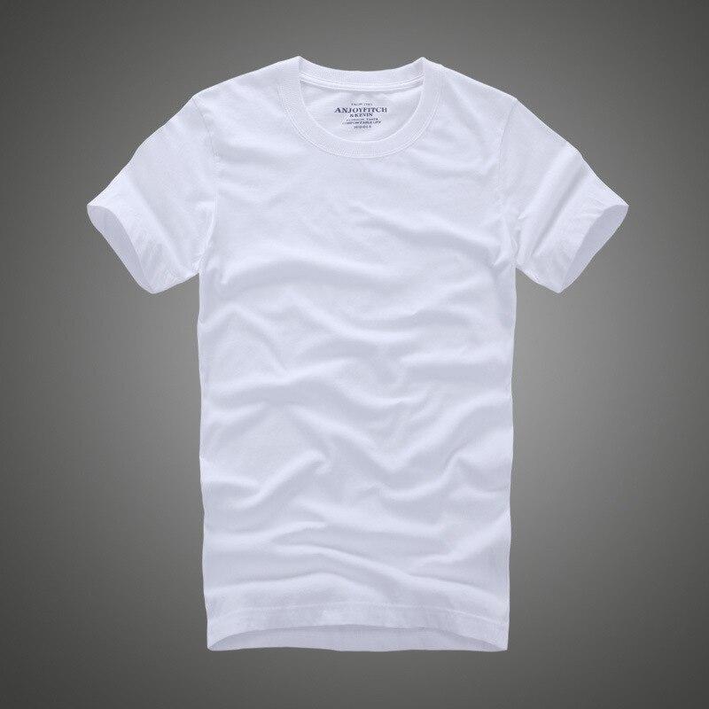 Camiseta para hombre, camiseta de manga corta con cuello redondo, 100% de algodón para hombre, camisetas de Color sólido, Tops informales, paño fino corte estándar, Anjoyfitch de alta calidad