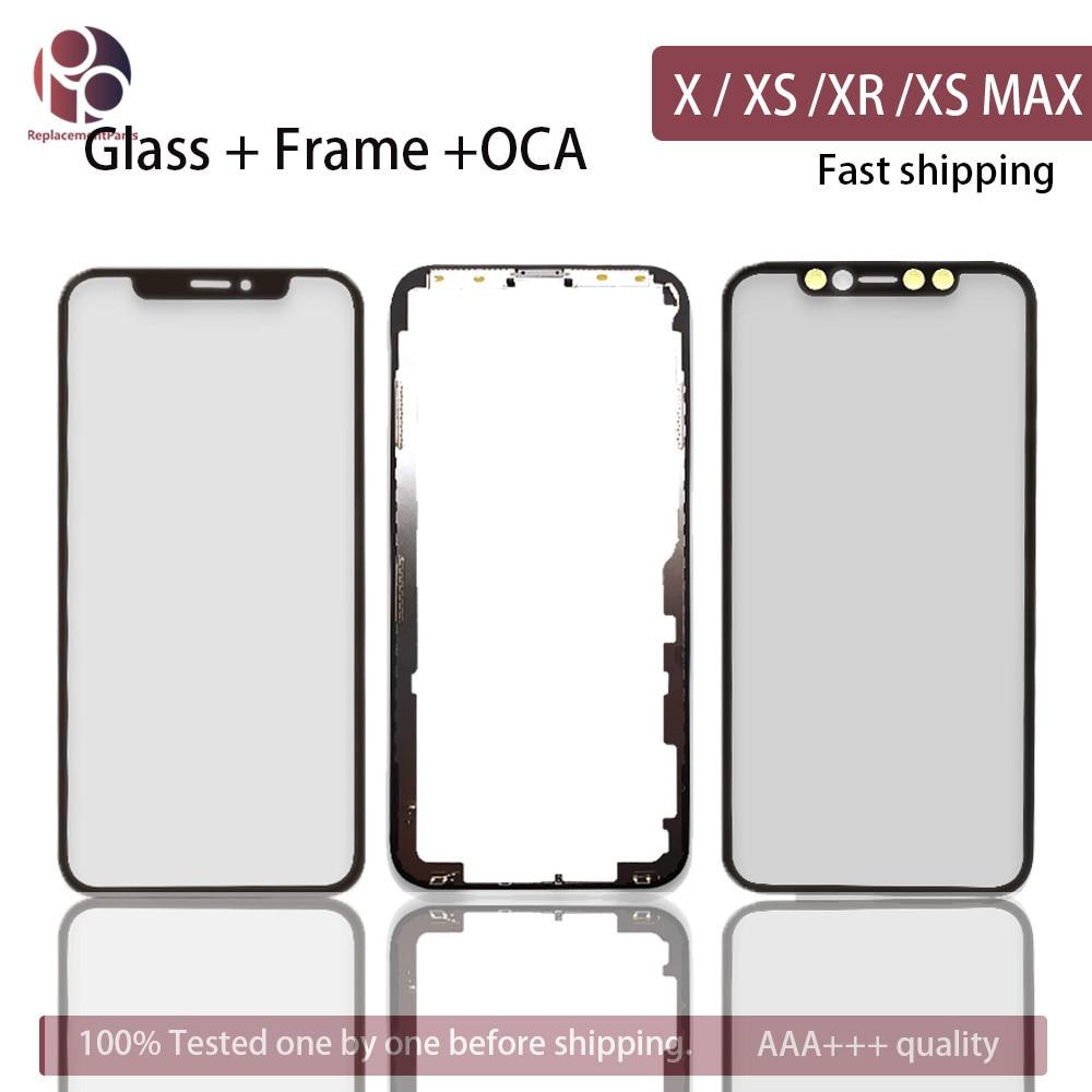 10 pces tela frontal moldura de vidro exterior oca para iphone x/xs/xr/xs max xsm substituição de vidro da tela