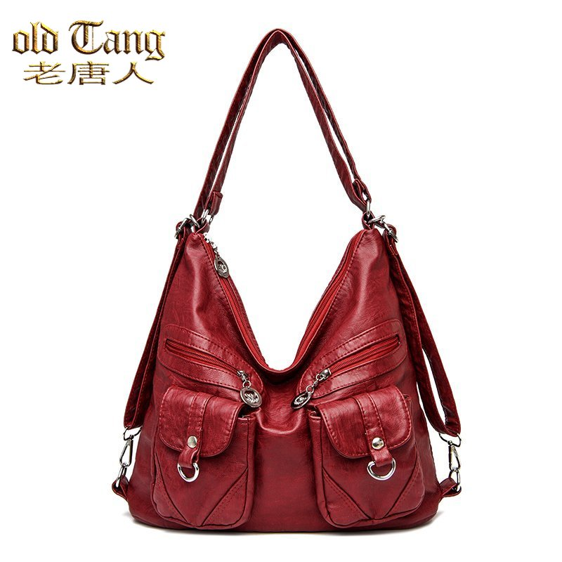 fashion leather shoulder bags for women 2021 designer handbag large capacity casual tote bags luxury lady crossbody bag totes Large Capacity Designer Vintage Leather Shoulder Bags for Women 2021 Female Handbag Crossbody Bags Lady Tote Purse