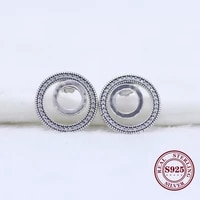 claudia real 925 sterling silver earring forever circle signature earring with crystal stud earring for women wedding jewelry