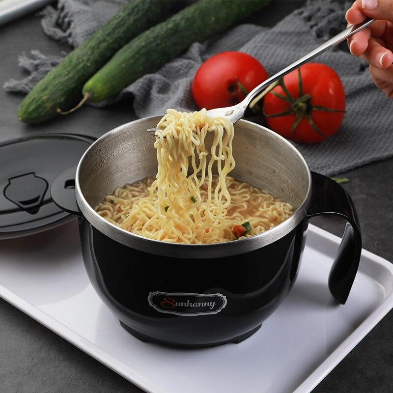 Aislado cuenco para Fideos Instantáneos fácil de llevar a fiambrera de acero inoxidable con tapa de la caja de almuerzo contenedor de alimentos