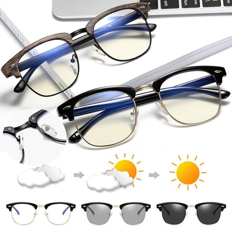 Blue Light Blocking Square Computer Glasses Photochromic Chameleon Sunglasses Anti Blue Ray Outdoor