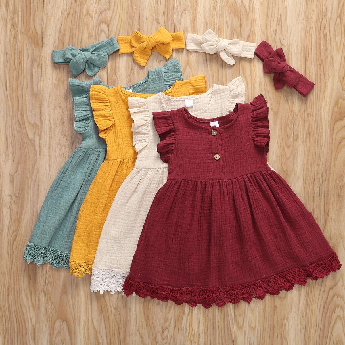Детские летние платья 2020 года, милое кружевное однотонное Хлопковое платье для маленьких девочек, гофрированный сарафан без рукавов + повяз...