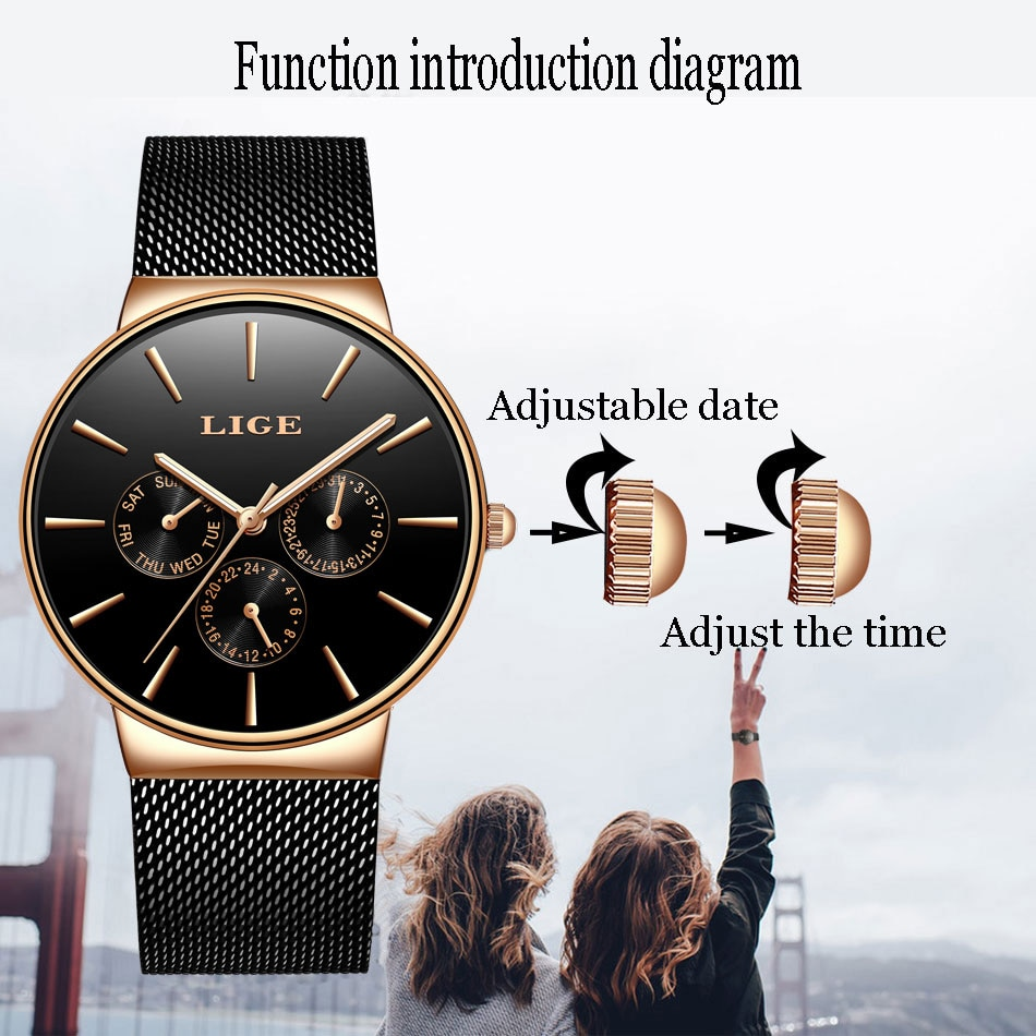 2021Classic Women Rose Gold Top Brand Luxury Laides Dress Business Fashion Casual Waterproof Watches Quartz Calendar Wristwatch enlarge