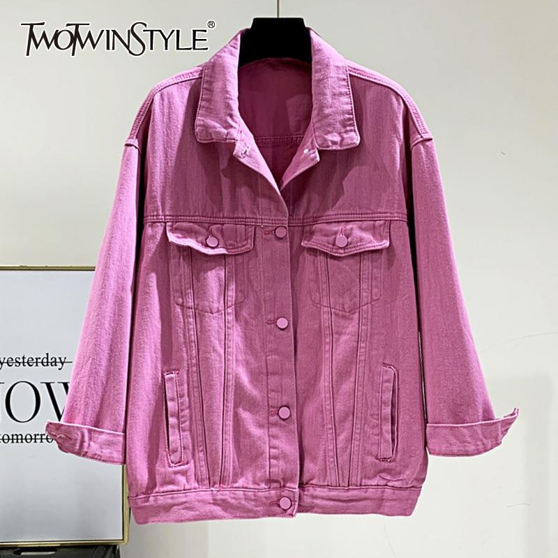 Женская джинсовая куртка TWOTWINSTYLE, повседневная розовая куртка с отворотом и длинным рукавом, Корейская однотонная Свободная куртка, Весення...