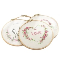 diy lover flower embroidery kit with hoop needlework pattern printed starter kit for beginners sewing art craf lover gift
