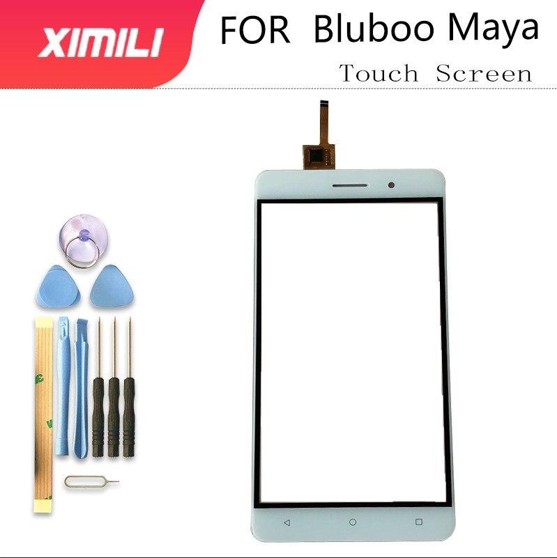 Pantalla táctil de cristal táctil de 5,5 pulgadas para teléfono móvil para Bluboo Maya Panel digitalizador Lente de Cristal frontal Sensor capacitivo adhesivo