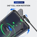 USLION 540 Degree Roating Magnetic Cable Micro USB Type C Phone Cable For iPhone11 Pro XS Max Samsung Xiaomi USB Cord Wire Cable