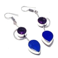 nature lapis lazuli amethyst silver overlay on copper earrings hand made women jewelry gift