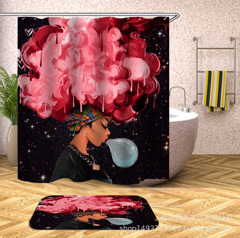Cortina de ducha de impresión Digital para mujeres de África a prueba de agua a prueba de moldes en forma de C ganchos de plástico puro tong kou yan gráfico Customiz