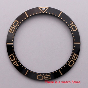 38mm Watch parts ceramics Bezel with yellow mark Insert for 40mm Automatic Watches