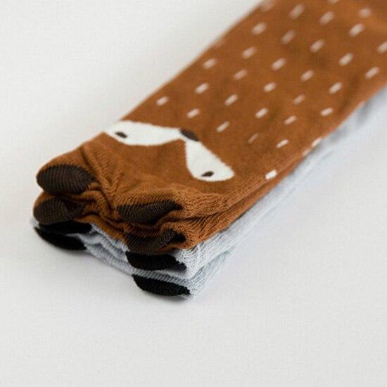 Модное детское платье для маленьких девочек с рисунком лисы; Мягкие хлопковые носки до колен Колготки чулочно-носочные изделия