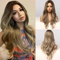 alan eaton long water wave women wigs middle part ombre black brown blonde ash highlight synthetic hair wig heat resistant fibre