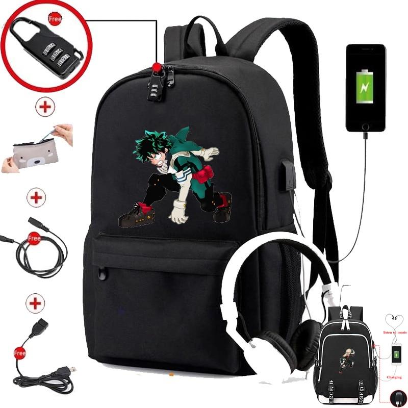 IMIDO аниме рюкзак для школьников мальчиков Ubs зарядка водонепроницаемый ноутбук путешествия плечевые рюкзаки для девочек черный личные сумк...
