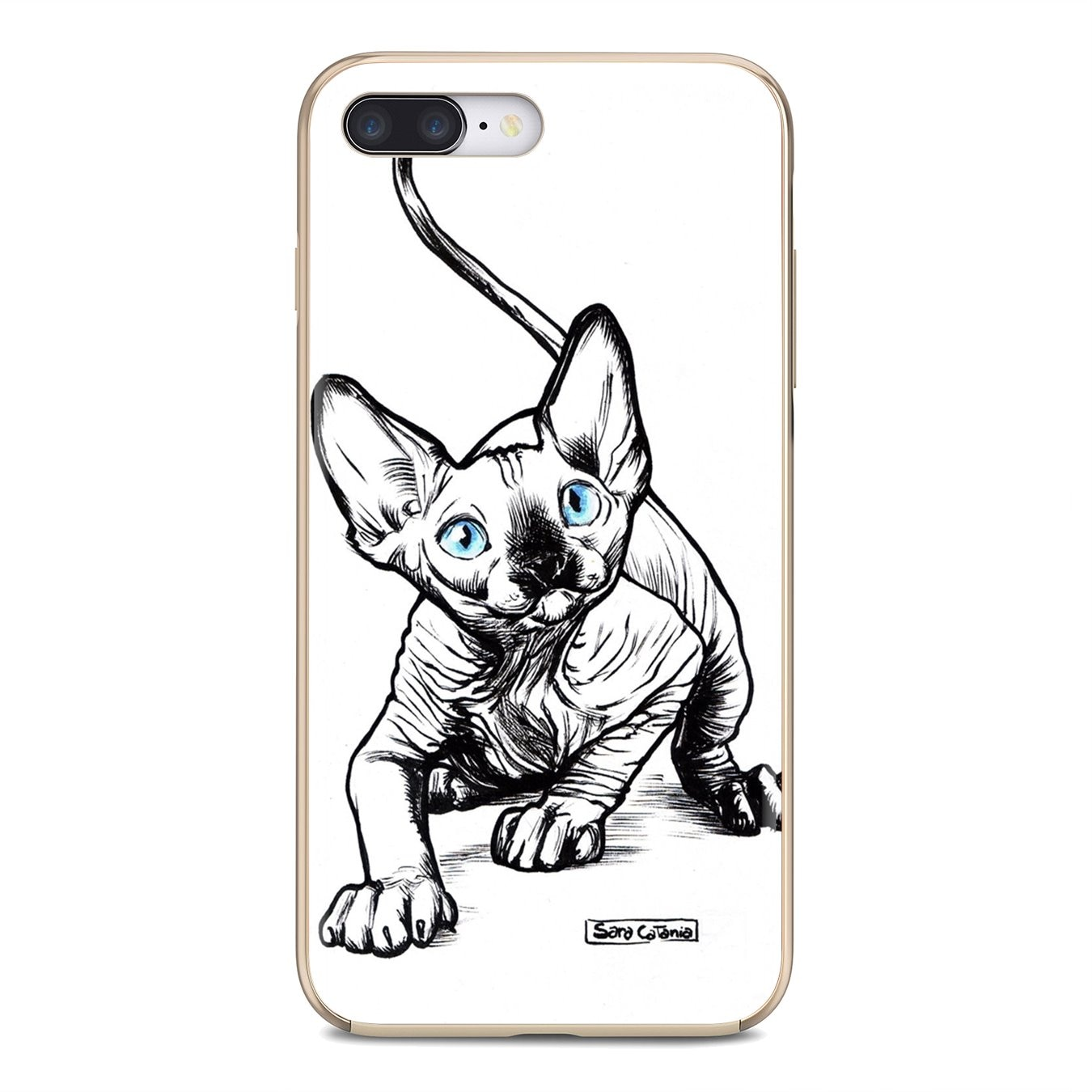 Para sony xperia z5 xz xa1 xa2 premium ultra 10 x l2 mão desenhar imagem retrato gato coroa original silicone telefone caso