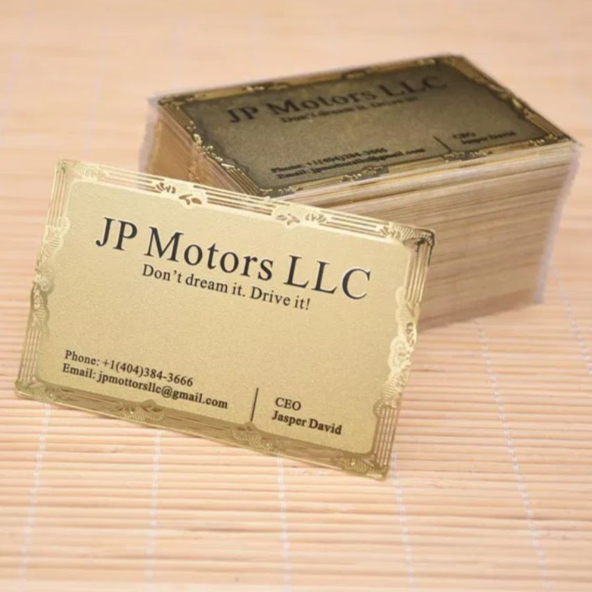 Gold Metal Cards Custom Business Cards Hole punch engraved Free Fast Shipping