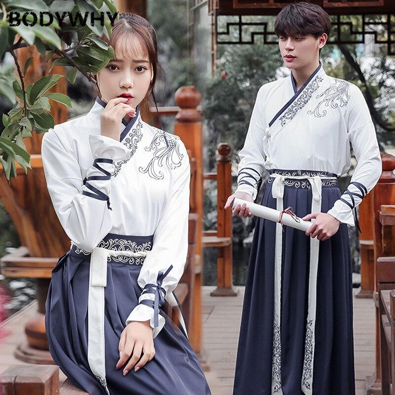 زي Hanfu الصيني للزوجين ، مجموعة رقص نسائية ، ياقة متقاطعة محسّنة ، عصرية ، عنصر سلالة هان